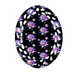 Flowers Pattern Background Lilac Ornament (oval Filigree)