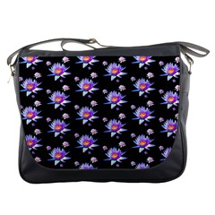 Flowers Pattern Background Lilac Messenger Bags