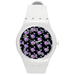 Flowers Pattern Background Lilac Round Plastic Sport Watch (M)