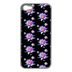 Flowers Pattern Background Lilac Apple iPhone 5 Case (Silver)