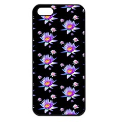 Flowers Pattern Background Lilac Apple iPhone 5 Seamless Case (Black)