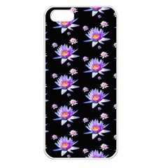Flowers Pattern Background Lilac Apple iPhone 5 Seamless Case (White)