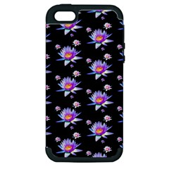 Flowers Pattern Background Lilac Apple iPhone 5 Hardshell Case (PC+Silicone)