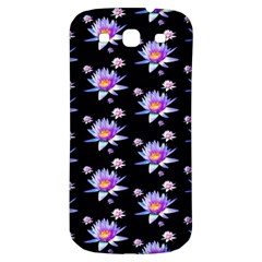 Flowers Pattern Background Lilac Samsung Galaxy S3 S III Classic Hardshell Back Case
