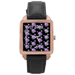 Flowers Pattern Background Lilac Rose Gold Leather Watch