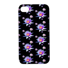 Flowers Pattern Background Lilac Apple Iphone 4/4s Hardshell Case With Stand