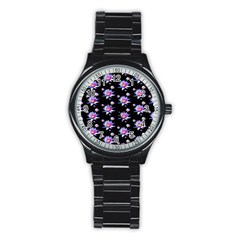 Flowers Pattern Background Lilac Stainless Steel Round Watch