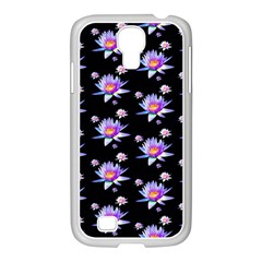 Flowers Pattern Background Lilac Samsung Galaxy S4 I9500/ I9505 Case (white)