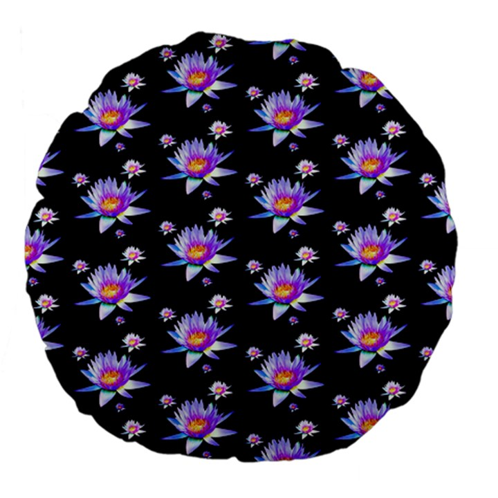Flowers Pattern Background Lilac Large 18  Premium Flano Round Cushions