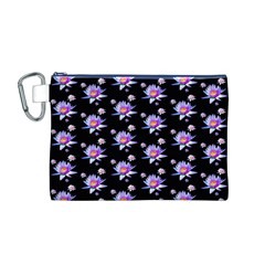 Flowers Pattern Background Lilac Canvas Cosmetic Bag (M)