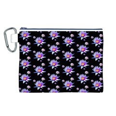 Flowers Pattern Background Lilac Canvas Cosmetic Bag (l)