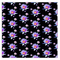 Flowers Pattern Background Lilac Large Satin Scarf (Square)