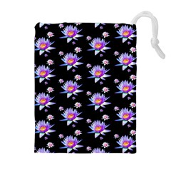 Flowers Pattern Background Lilac Drawstring Pouches (extra Large)