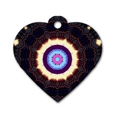 Mandala Art Design Pattern Dog Tag Heart (two Sides)