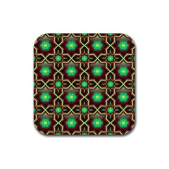 Pattern Background Bright Brown Rubber Square Coaster (4 pack)