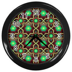Pattern Background Bright Brown Wall Clocks (black)