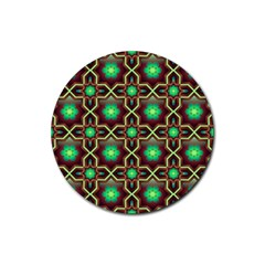 Pattern Background Bright Brown Rubber Round Coaster (4 pack)