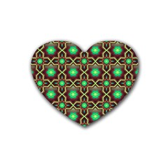 Pattern Background Bright Brown Heart Coaster (4 pack)