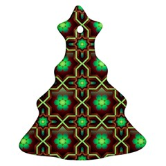 Pattern Background Bright Brown Christmas Tree Ornament (Two Sides)