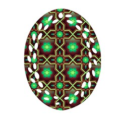 Pattern Background Bright Brown Oval Filigree Ornament (Two Sides)