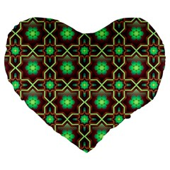 Pattern Background Bright Brown Large 19  Premium Flano Heart Shape Cushions