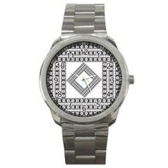 Pattern Background Texture Black Sport Metal Watch