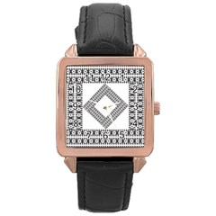 Pattern Background Texture Black Rose Gold Leather Watch