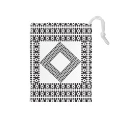 Pattern Background Texture Black Drawstring Pouches (medium)