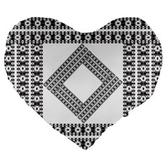 Pattern Background Texture Black Large 19  Premium Flano Heart Shape Cushions
