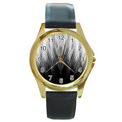 Feather Graphic Design Background Round Gold Metal Watch