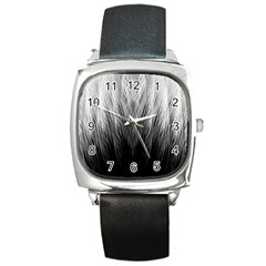 Feather Graphic Design Background Square Metal Watch