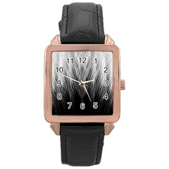 Feather Graphic Design Background Rose Gold Leather Watch