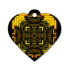 Abstract Glow Kaleidoscopic Light Dog Tag Heart (Two Sides)