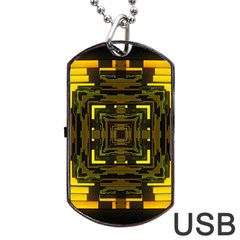 Abstract Glow Kaleidoscopic Light Dog Tag Usb Flash (two Sides)
