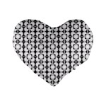 Pattern Background Texture Black Standard 16  Premium Flano Heart Shape Cushions Front