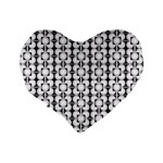 Pattern Background Texture Black Standard 16  Premium Flano Heart Shape Cushions Back