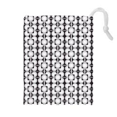 Pattern Background Texture Black Drawstring Pouches (Extra Large)