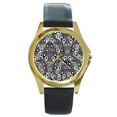 Paisley Pattern Paisley Pattern Round Gold Metal Watch