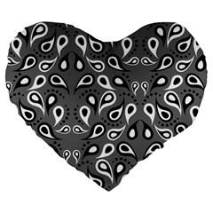 Paisley Pattern Paisley Pattern Large 19  Premium Flano Heart Shape Cushions