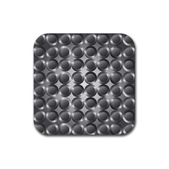 Metal Circle Background Ring Rubber Square Coaster (4 Pack)