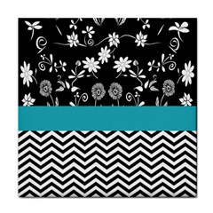 Flowers Turquoise Pattern Floral Tile Coasters