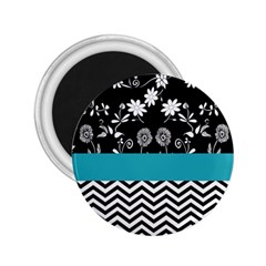Flowers Turquoise Pattern Floral 2 25  Magnets