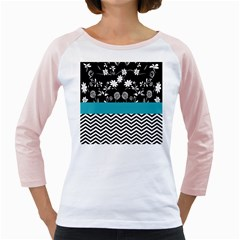 Flowers Turquoise Pattern Floral Girly Raglans