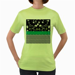 Flowers Turquoise Pattern Floral Women s Green T-Shirt