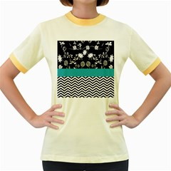 Flowers Turquoise Pattern Floral Women s Fitted Ringer T Shirts