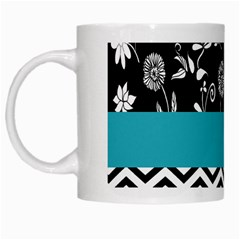 Flowers Turquoise Pattern Floral White Mugs