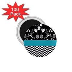 Flowers Turquoise Pattern Floral 1.75  Magnets (100 pack)