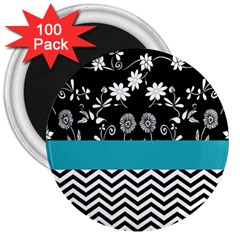 Flowers Turquoise Pattern Floral 3  Magnets (100 Pack)
