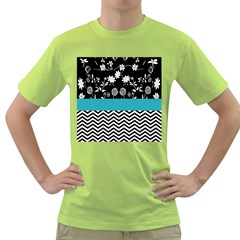 Flowers Turquoise Pattern Floral Green T Shirt