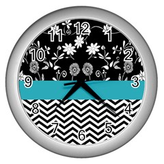 Flowers Turquoise Pattern Floral Wall Clocks (Silver)